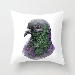 pigeon portrait Throw Pillow
