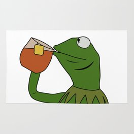 Kermit Inspired Meme King Sipping Tea Rug
