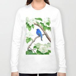 Royal Blue-Indigo Bunting in the Dogwoods by Teresa Thompson Long Sleeve T-shirt
