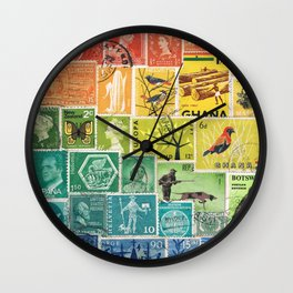 Rainbow Postage Stamp Art - Multicolour Collage of Postal History Wall Clock
