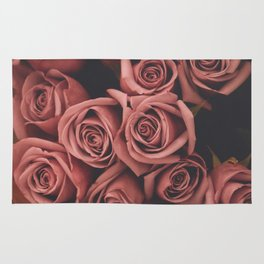 faded film style pink roses Rug