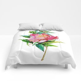 bright red pink peony . Artwork Comforters