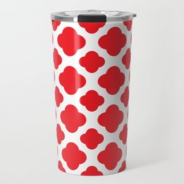 Red Quatrefoil Pattern Travel Mug
