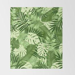 Green Tropical Leaves Pattern Throw Blanket
