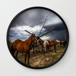 Pride - Horse Watches Over Herd as Storm Approaches Wall Clock
