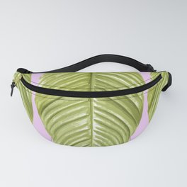 Three large green leaves on a pink background - vivid colors Fanny Pack