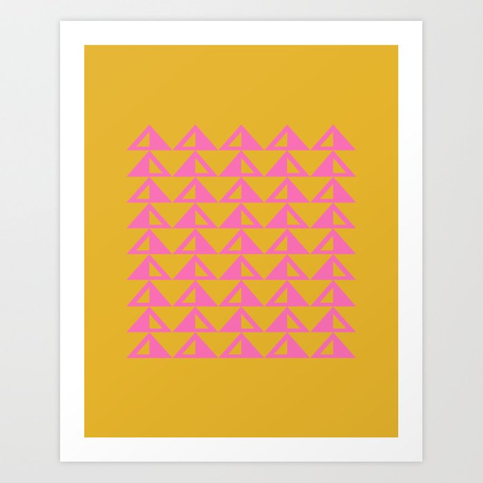Geometric Triangle Pattern in Sunny Yellow and Neon Pink Art Print