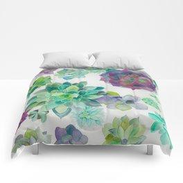 minimalist watercolor succulent arrangement Comforters