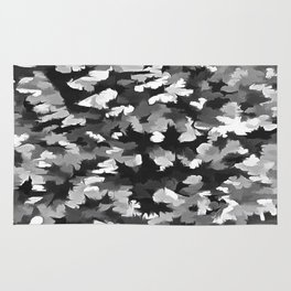 Foliage Abstract Pop Art In Monotone Black and White Rug