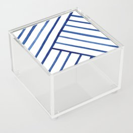 Watercolor lines pattern | Navy blue Acrylic Box