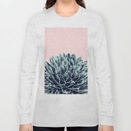 Blush Navy Blue Agave Chic #1 #succulent #decor #art #society6 Long Sleeve T-shirt