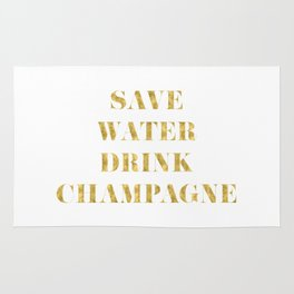 Save Water Drink Champagne Gold Rug