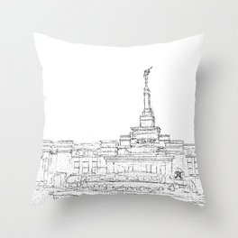 Reno Nevada LDS Temple Sketch Throw Pillow