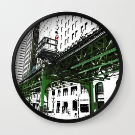 Chicago photography - Chicago EL art print in green black and white Wall Clock