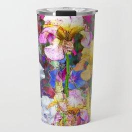 PINK-YELLOW PURPLE IRIS GARDEN GREY ART Travel Mug