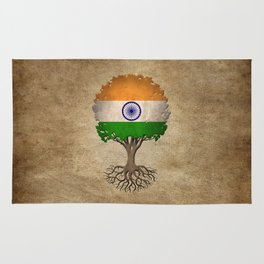 Vintage Tree of Life with Flag of India Rug