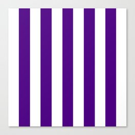 Indigo violet - solid color - white vertical lines pattern Canvas Print