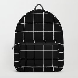 Grid Simple Line Black Minimalistic Backpack