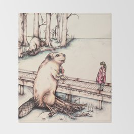 The Girl & The Beaver (or, Is It Alright if I Take Notes?) Throw Blanket