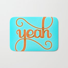 YEAH (BRIGHT HAND LETTERED TYPOGRAPHY ART) Bright Baby Sky Blue and Orange Bath Mat