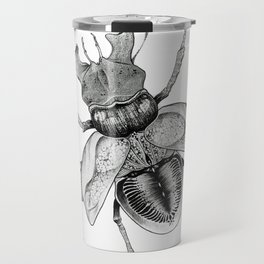 Dotwork Flying Beetle Illustration Travel Mug