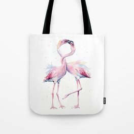 Two Flamingos Watercolor Flamingo Love Tote Bag