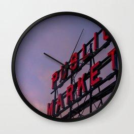 Pike Place Neon Sunrise Wall Clock