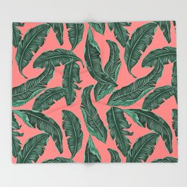 Banana leaves tropical leaves green pink #homedecor Throw Blanket