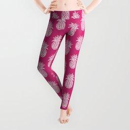 Pink yarrow inspired pineapples Leggings