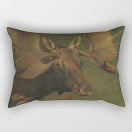 Vintage Painting of a Bull Moose Rectangular Pillow