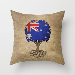 Vintage Tree of Life with Flag of Australia Throw Pillow