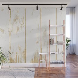 Rustic wooden texture. White and gold antique wood. Wall Mural