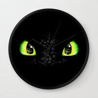 toothless Wall Clocks featuring Toothless by Ellador