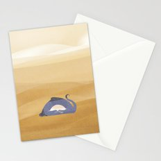 little dragon is sleeping in the sand illustration Stationery Cards