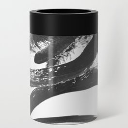 Interlock black and white paint swirls Can Cooler
