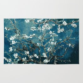 Van Gogh Almond Blossoms : Dark Teal Rug