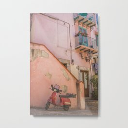Red Scooter in Sicily Metal Print