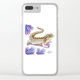 Bearded Dragon - Amethyst Crystals Clear iPhone Case
