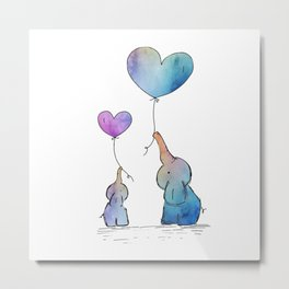 Colorful Watercolor Elephants Love Metal Print