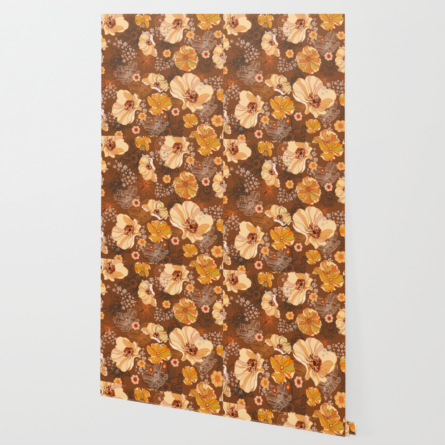 70s Flowers Retro Vintage Boho Orange And Brown Wallpaper By