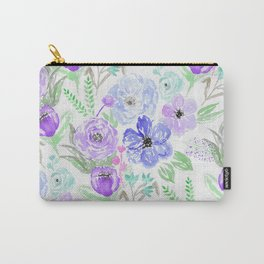 Hand painted lavender lilac blue watercolor flowers Carry-All Pouch