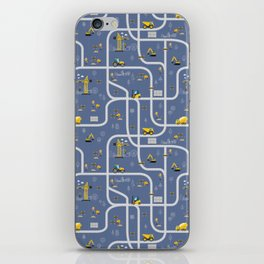 Under Construction Digger Vehicles Blue Pattern iPhone Skin