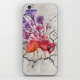 Save the Bees, Bee on Concrete | Watercolor Painting on Paper iPhone Skin
