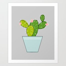 Blooming Cactus | Light Gray Art Print