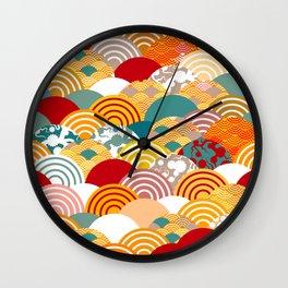 Nature background with japanese sakura flower, orange red pink Cherry, wave circle pattern Wall Clock