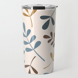 Assorted Leaf Silhouettes Blues Brown Gold Cream Travel Mug
