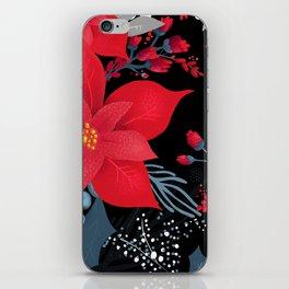 Christmas Poinsettia Flowers iPhone Skin