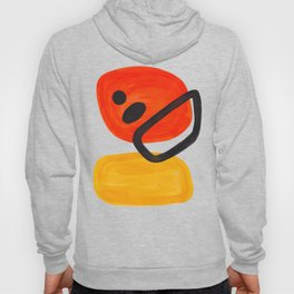 Midcentury Modern Colorful Abstract Pop Art Space Age Fun Bright Orange Yellow Colors Minimalist Hoody