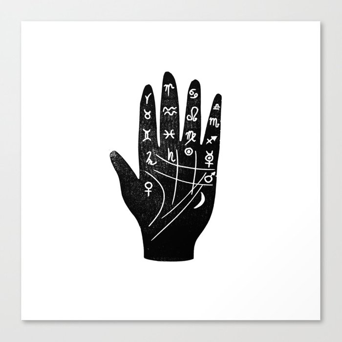 Linocut Hand Palm Reading Minimal Black And White Palmistry Fortune