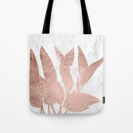 Modern faux Rose gold leaf tropical white marble illustration Tote Bag